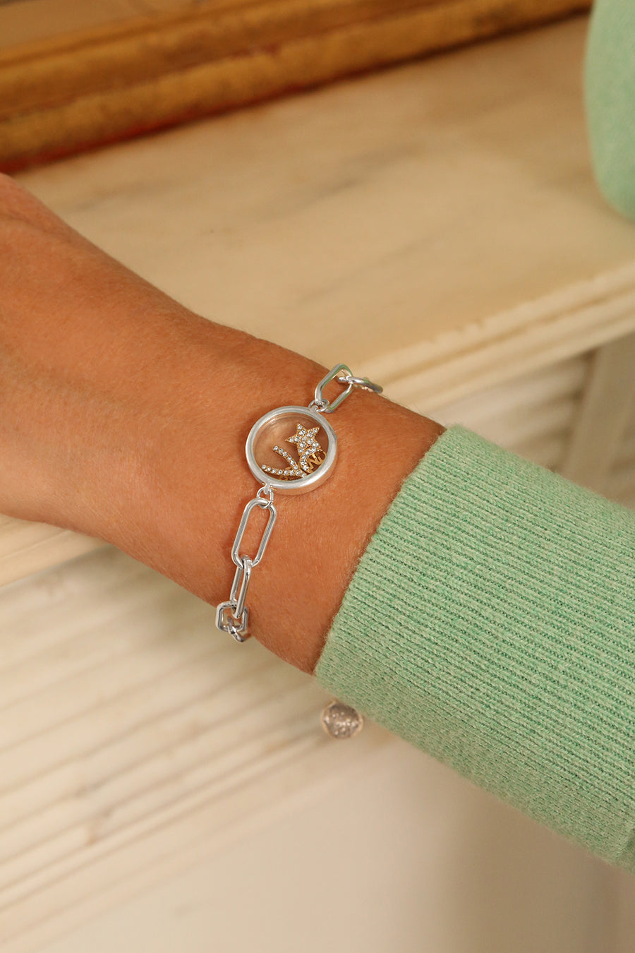 Kate Thornton Silver Floating Locket 'Be Kind' Bracelet