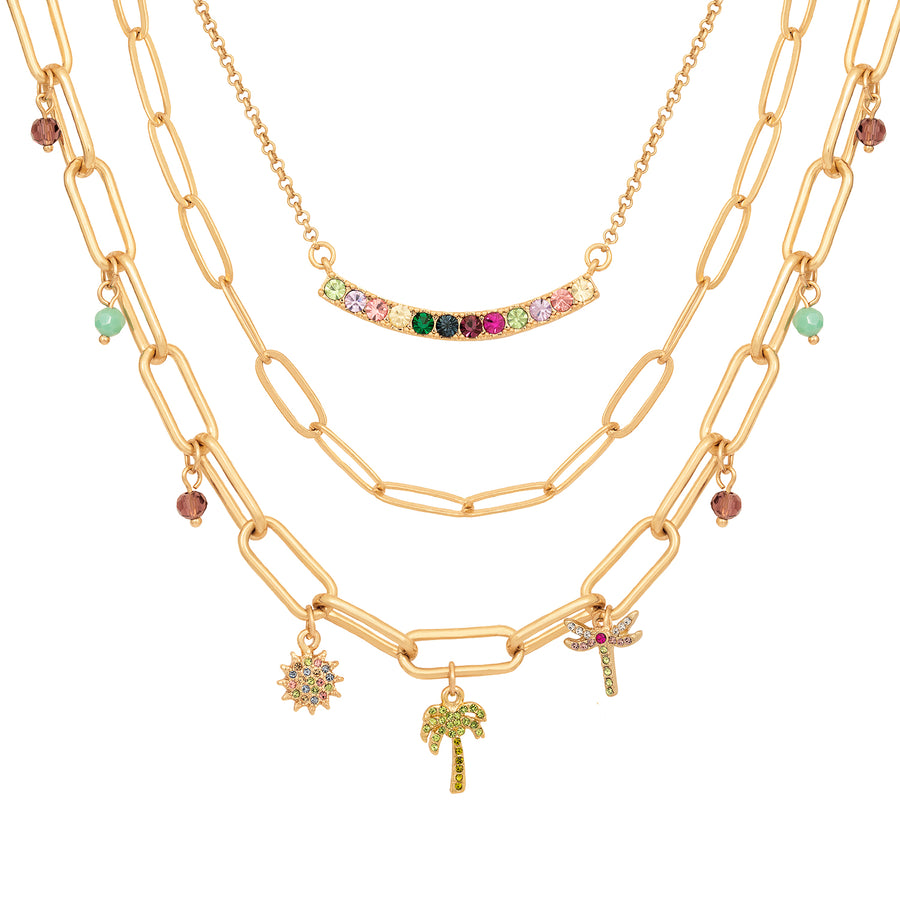 Kate Thornton 'Rainbow Tropics' Gold Layered Necklace Set