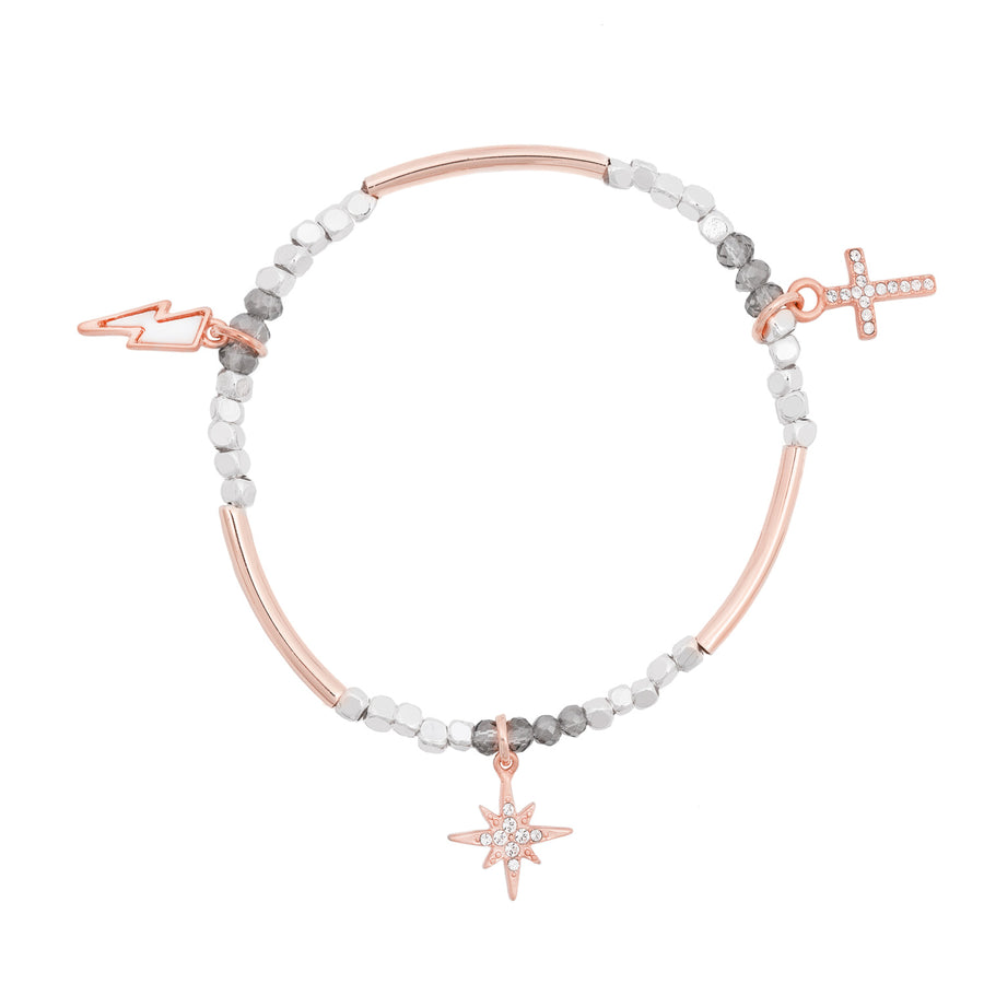 Karma Stretch Stackable Charm Bracelet in Rose