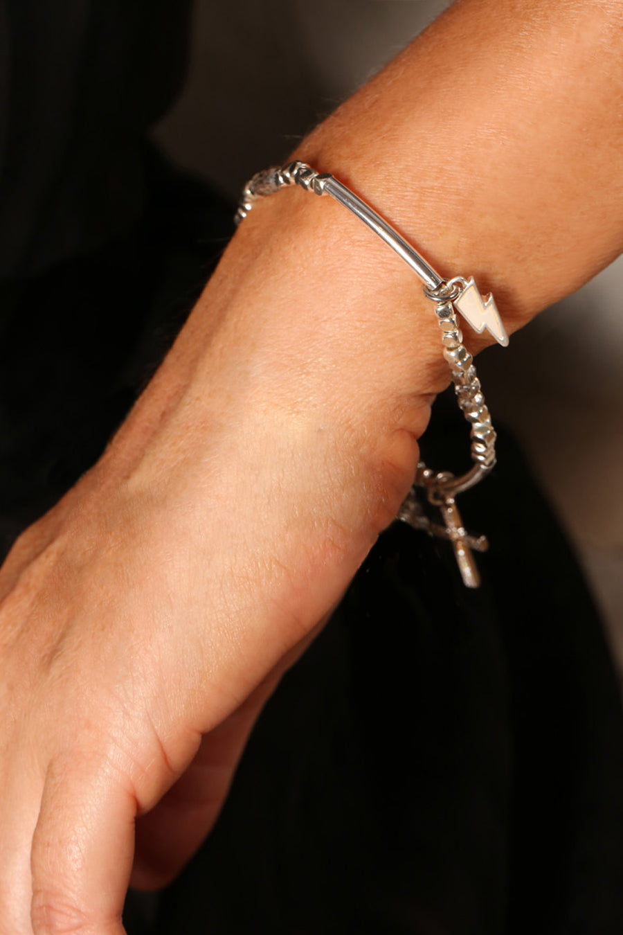 KTxBibi Karma Stretch Stackable Charm Bracelet in Silver