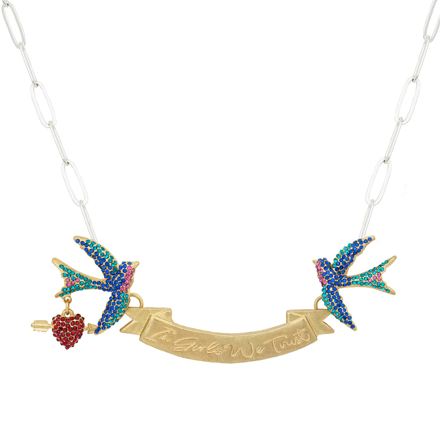 Kate Thornton 'In Girls We Trust' Gold Swallow Necklace