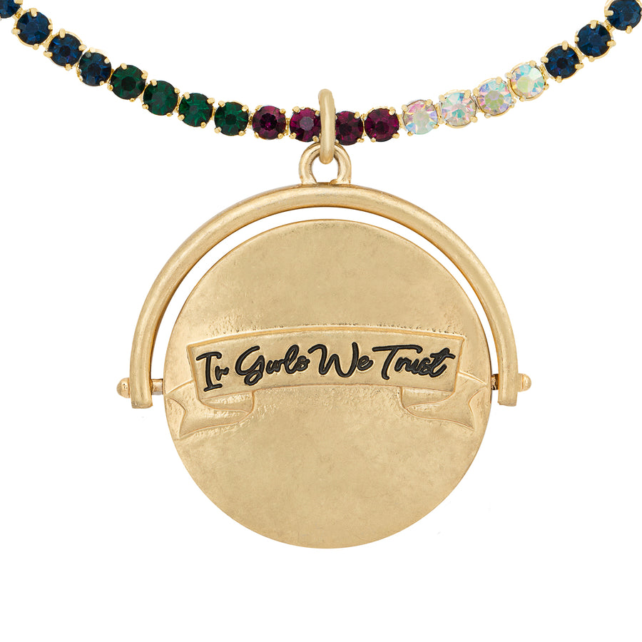 Kate Thornton 'In Girls We Trust' Gold Spinning Necklace