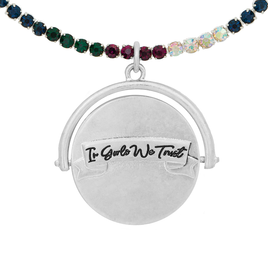 Kate Thornton 'In Girls We Trust' Silver Spinning Necklace