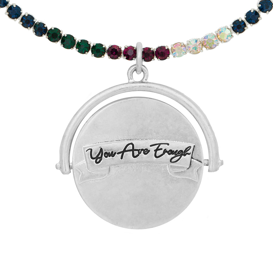Kate Thornton 'You Are Enough' Silver Spinning Necklace