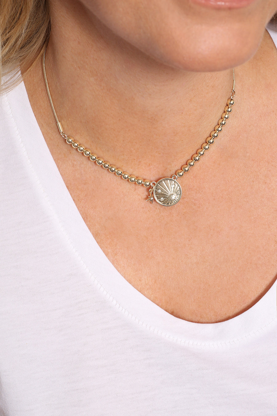 Kate Thornton Gold Sun Ray Friendship Necklace