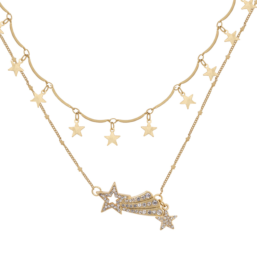 Kate Thornton 'Dancing Stars' and 'Shooting Star' Gold Layered Necklace Set