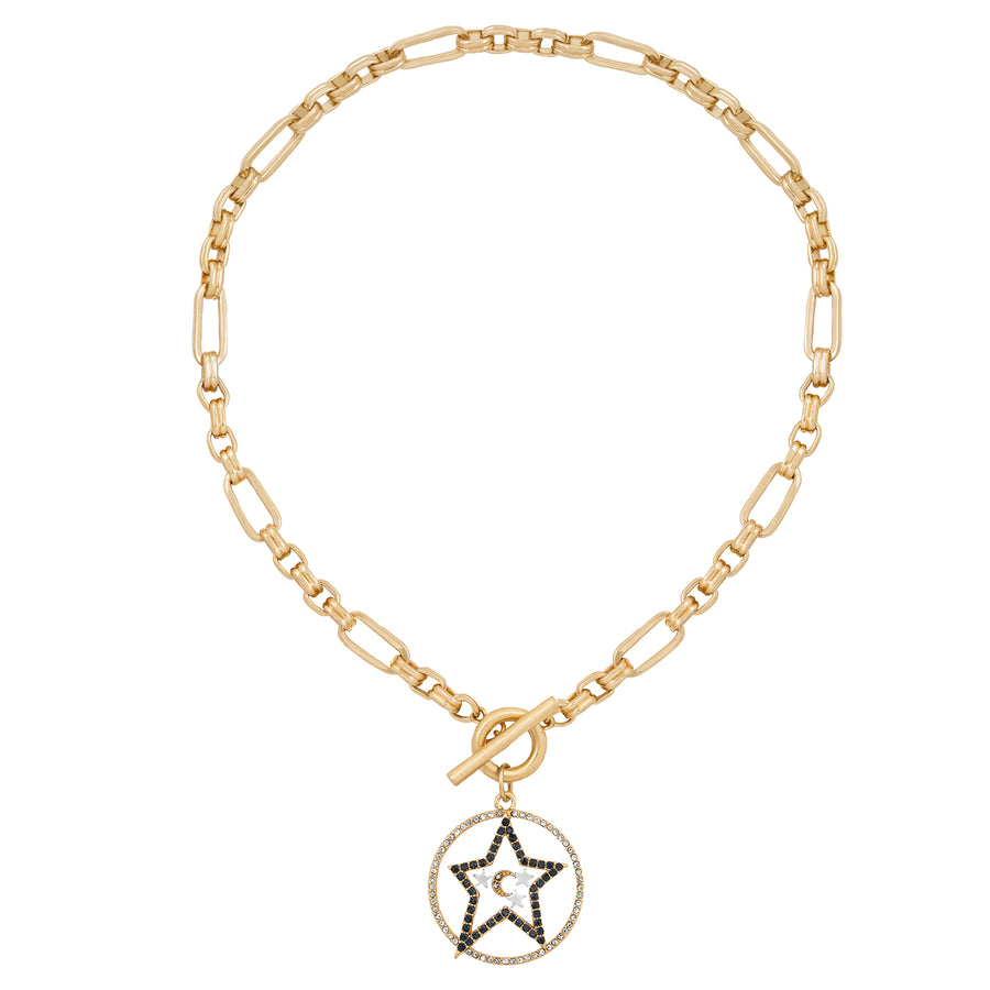 Kate Thornton 'Star and Moon' Gold T-Bar Necklace