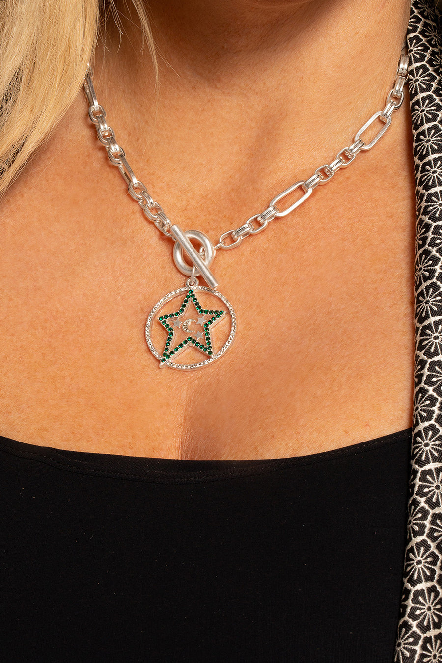 Kate Thornton 'Star and Moon' Silver T-Bar Necklace