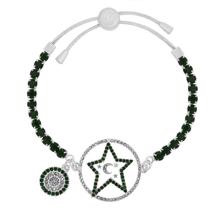 Kate Thornton 'Star and Moon' Green and Silver Bracelet