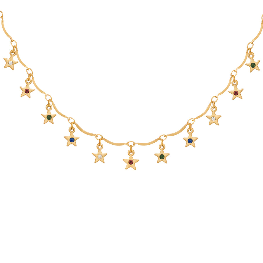 Kate Thornton 'Dancing Stars' Gold Rainbow Crystal Necklace and Bracelet Set