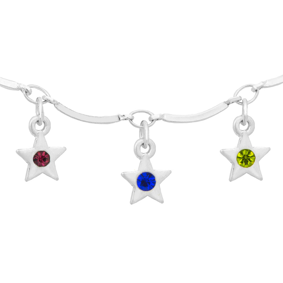 Kate Thornton 'Dancing Stars' Silver Rainbow Crystal Necklace and Bracelet Set
