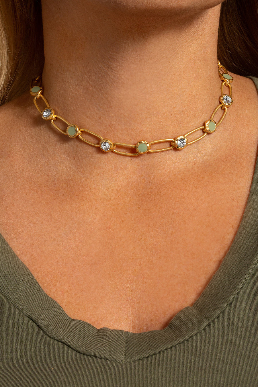 Kate Thornton Gold and Green Choker Necklace
