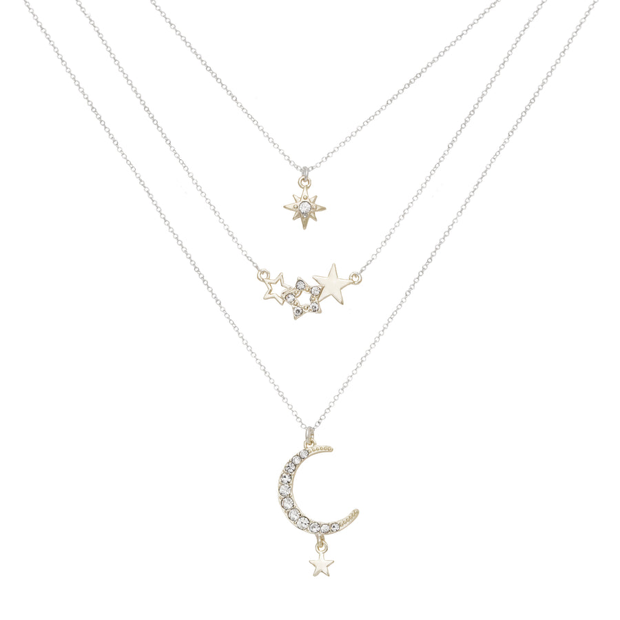 Kate Thornton for Bibi Bijoux Stars and Moon Layered Necklace Set in Silver and Gold