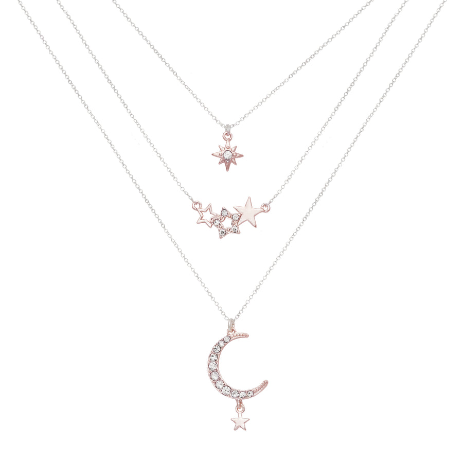 Kate Thornton for Bibi Bijoux Stars and Moon Layered Necklace Set in Silver and Rose Gold