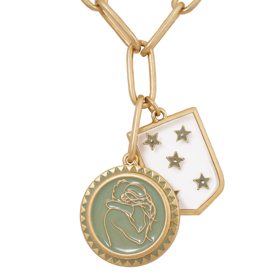 Kate Thornton 'Stronger Together' Gold Hug and Star Shield Necklace