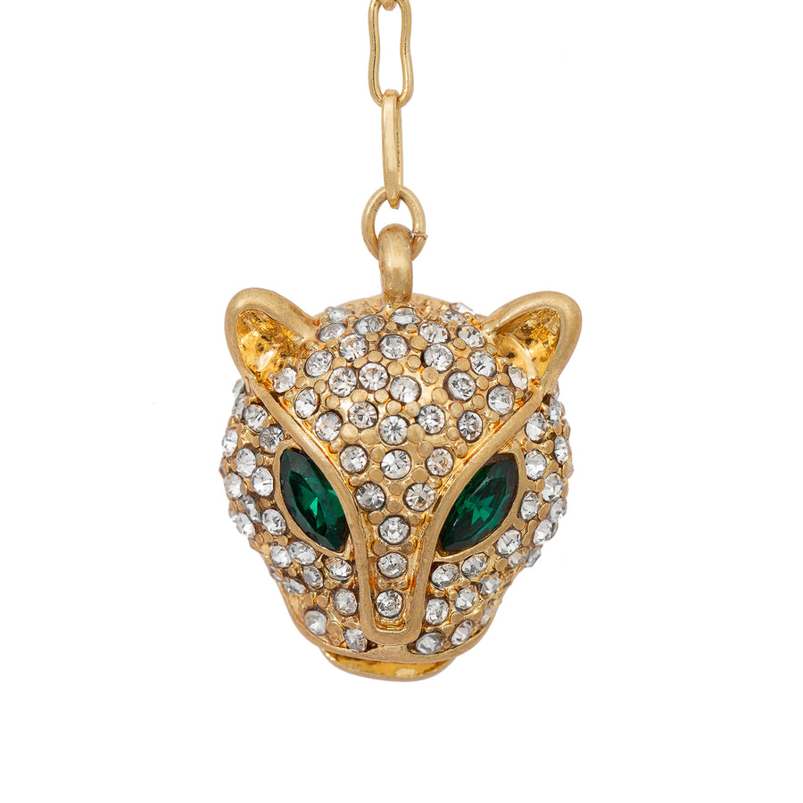 Kate Thornton Crystal Panther Gold Necklace
