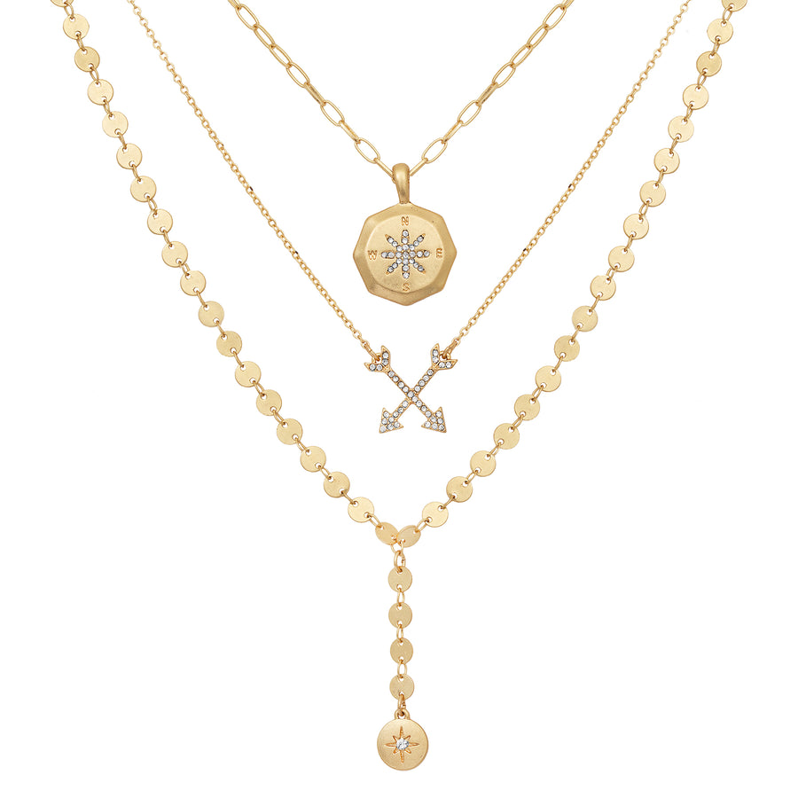 Kate Thornton 'Follow Your Heart' Gold Compass Necklace