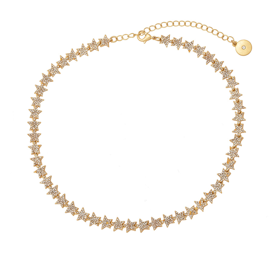 Kate Thornton 'Sparkling Stars' Gold Tennis Necklace