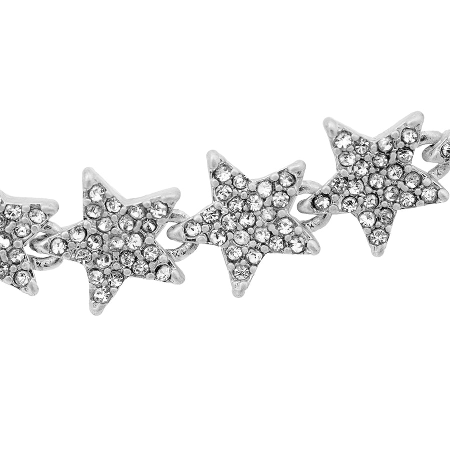 Kate Thornton 'Sparkling Stars' Silver Tennis Necklace