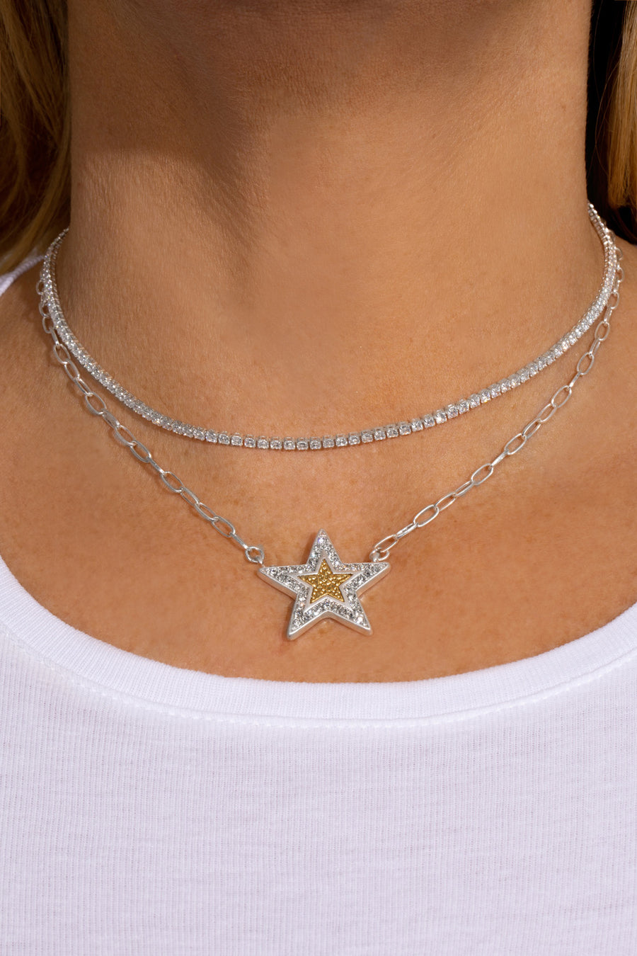 Kate Thornton 'Shining Star' Layered Silver and Gold Necklace