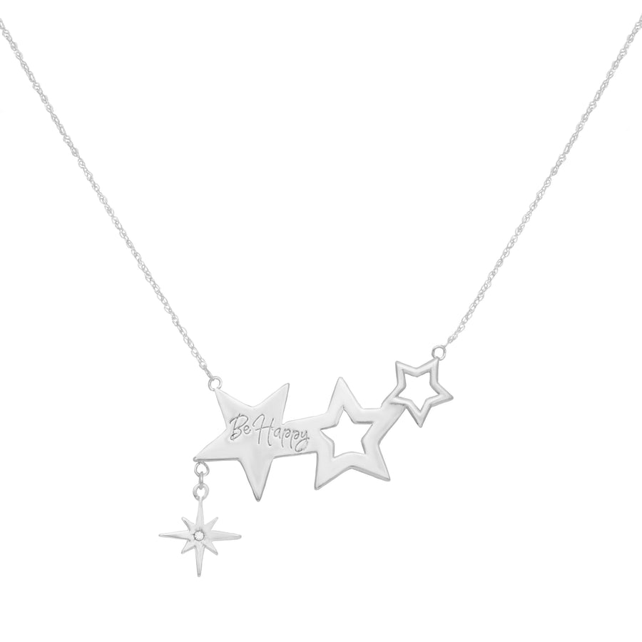 Kate Thornton Three Star Silver Friendship Necklace