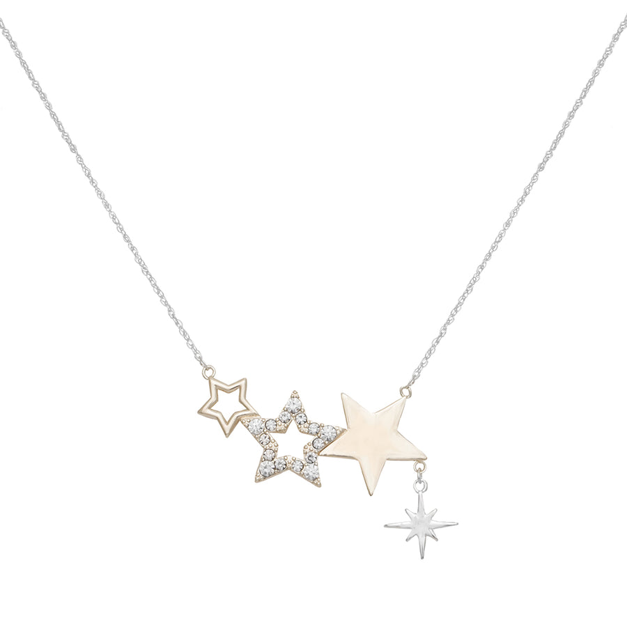 Kate Thornton Three Star Silver and Gold Friendship Necklace