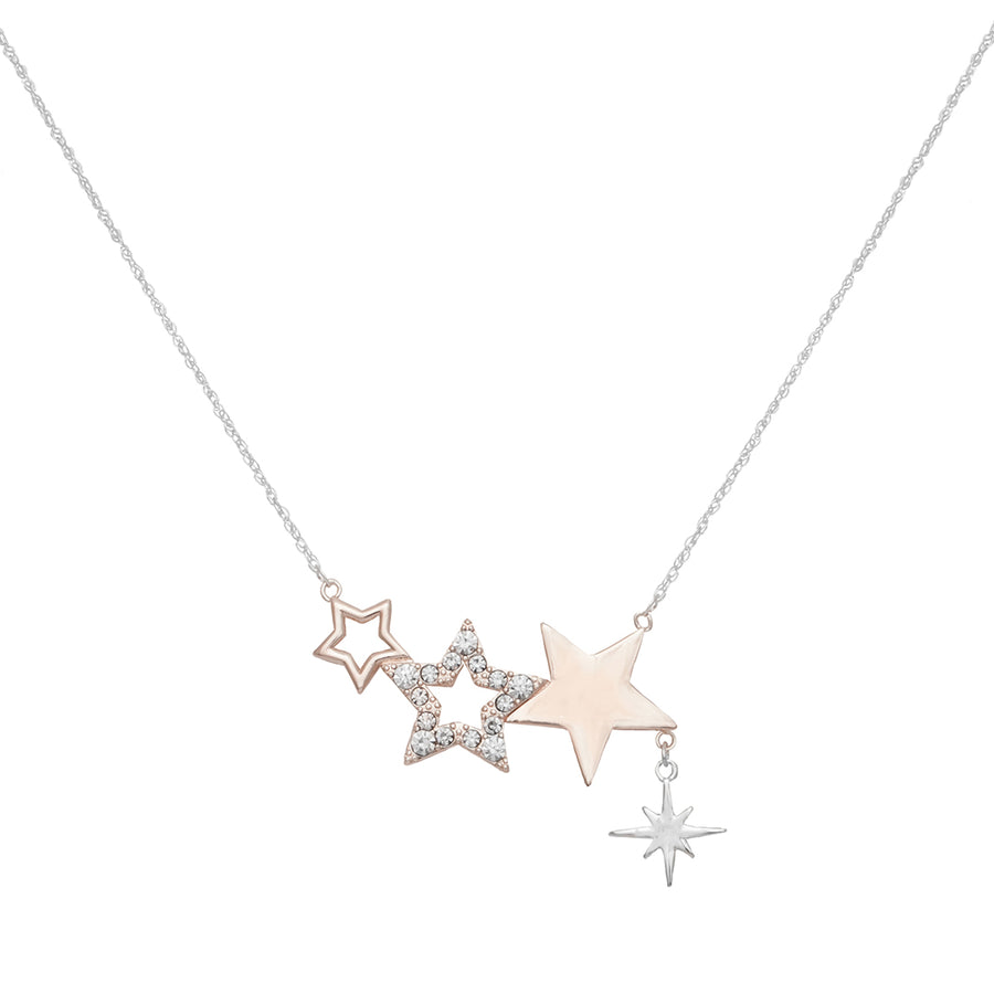 Kate Thornton Three Star Silver and Rose Gold Friendship Necklace
