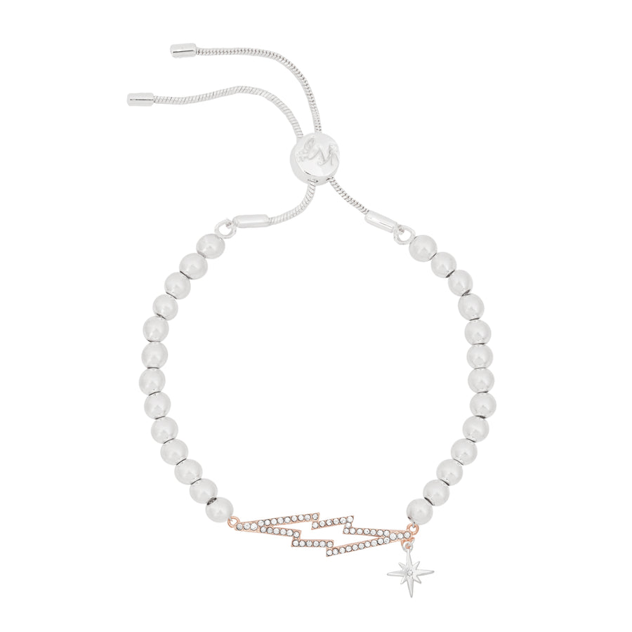 Kate Thornton 'Bowie' Crystal Lightning Bolt  Friendship Bracelet in Silver and Rose Gold