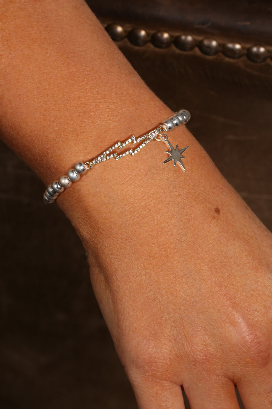 Kate Thornton 'Bowie' Crystal Lightning Bolt Friendship Bracelet in Silver and Gold