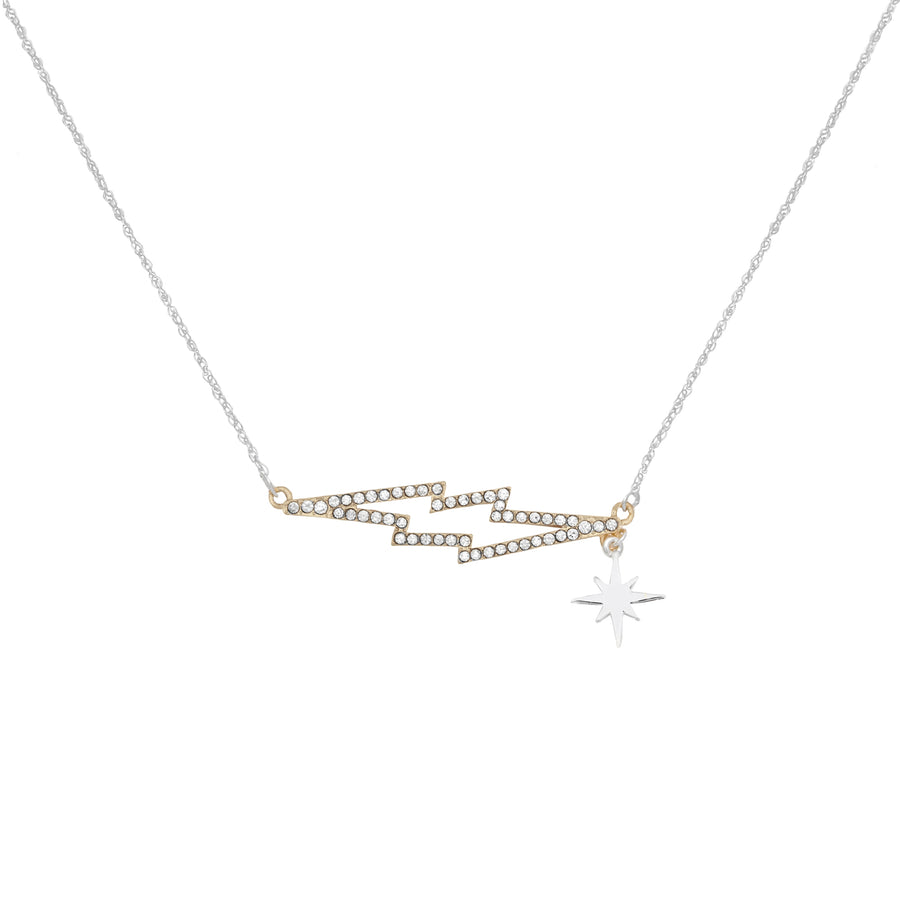 KTxBibi Bowie Pavé Crystal Lightening Bolt Necklace