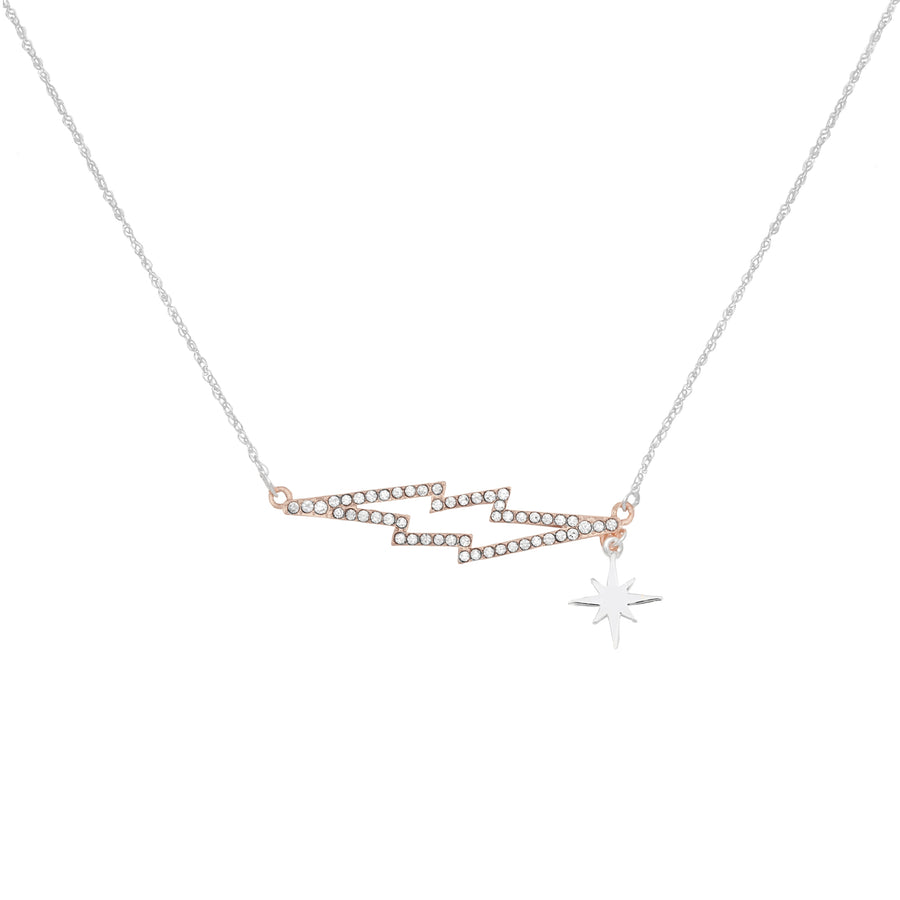 Kate Thornton 'Bowie' Crystal Lightning Bolt Necklace in Silver and Rose Gold