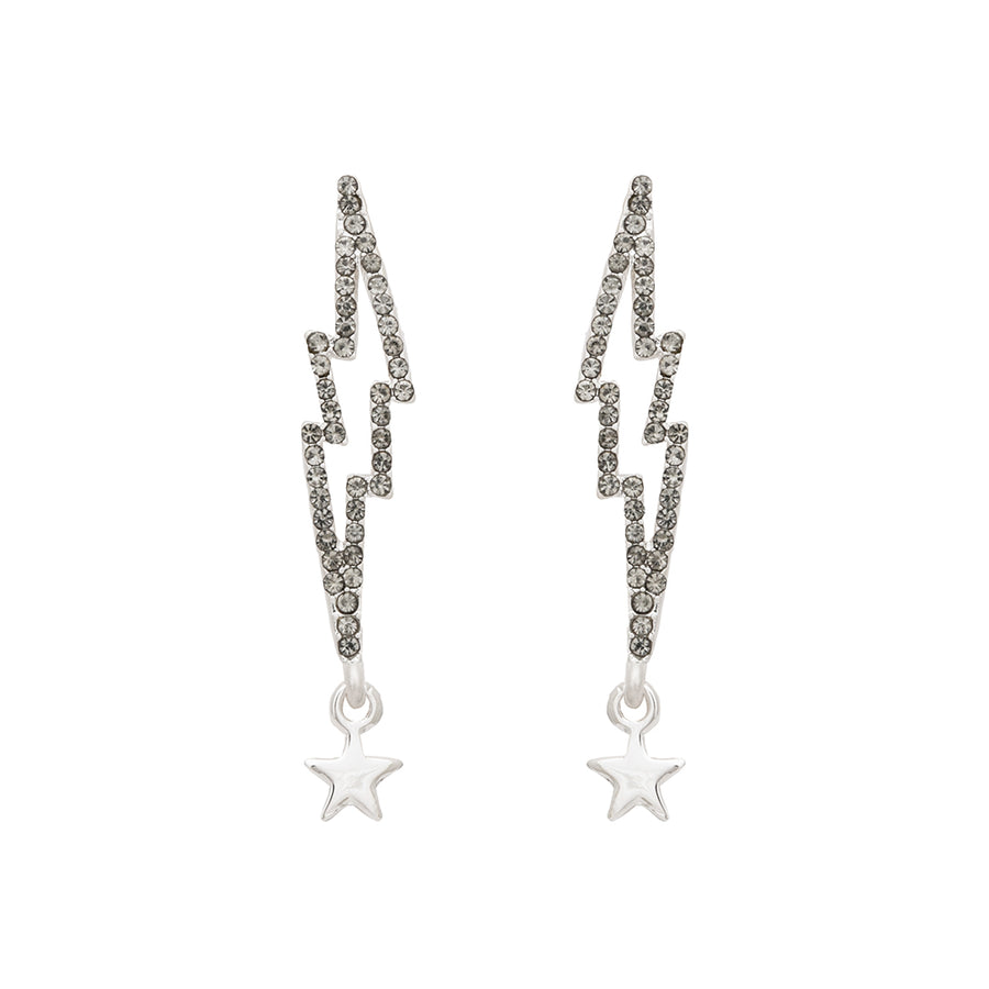 Kate Thornton 'Bowie' Black Pavé Crystal Lightening Bolt Earrings