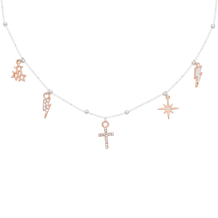 Kate Thornton Rose Gold Scattered Charm Necklace
