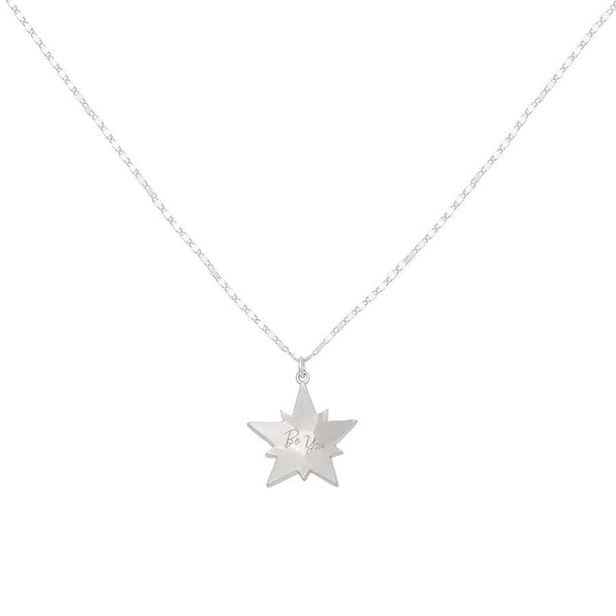 Kate Thornton Silver Black Crystal Superstar Pendant Necklace