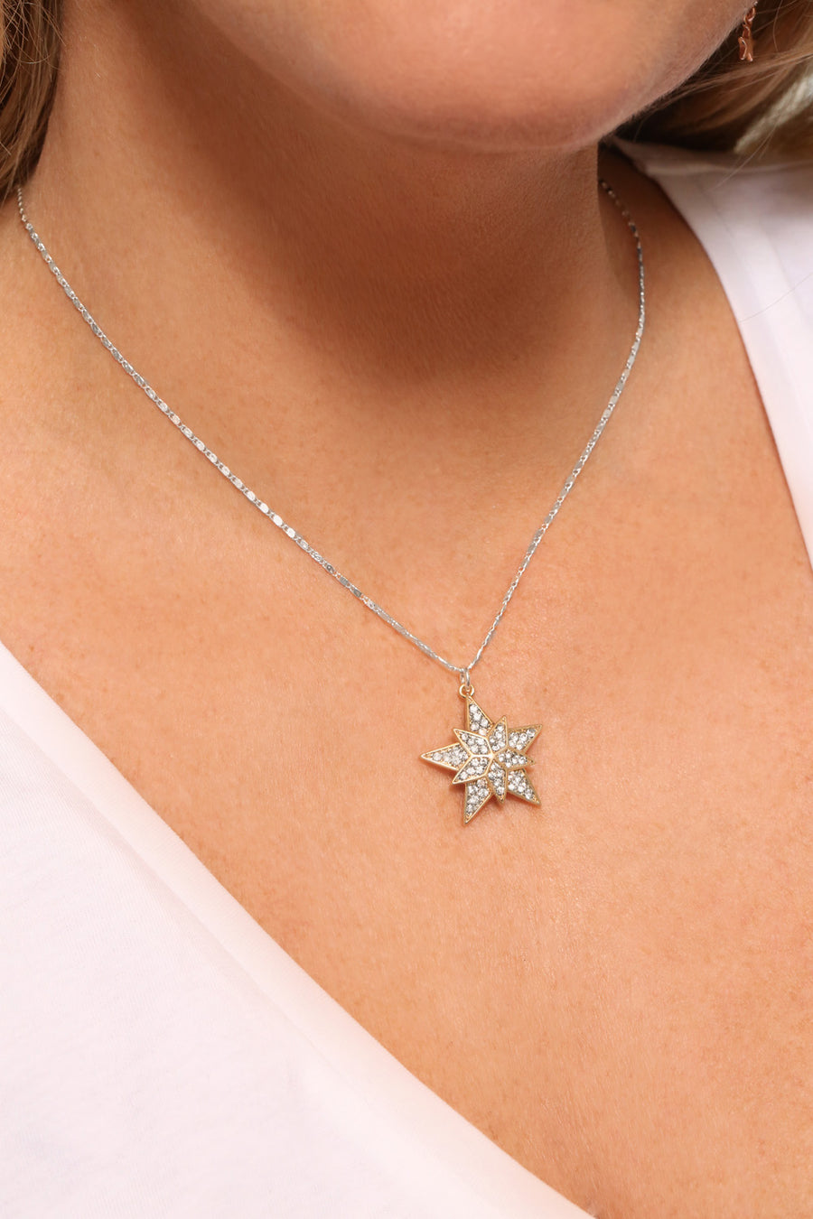 Kate Thornton Gold Crystal Superstar Pendant Necklace