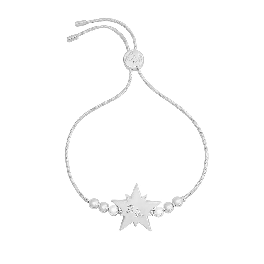 Kate Thornton Silver and Black Crystal Star Friendship Bracelet