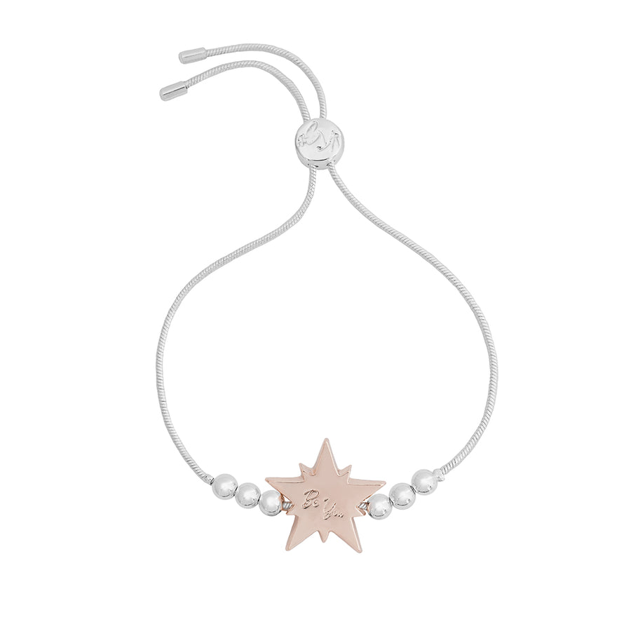 Kate Thornton Silver and Rose Gold Crystal Star Friendship Bracelet
