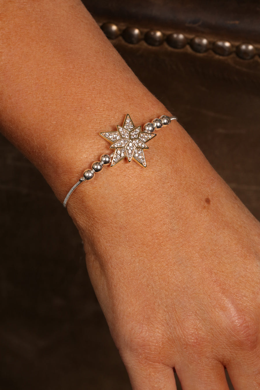 Kate Thornton Silver and Gold Crystal Star Friendship Bracelet