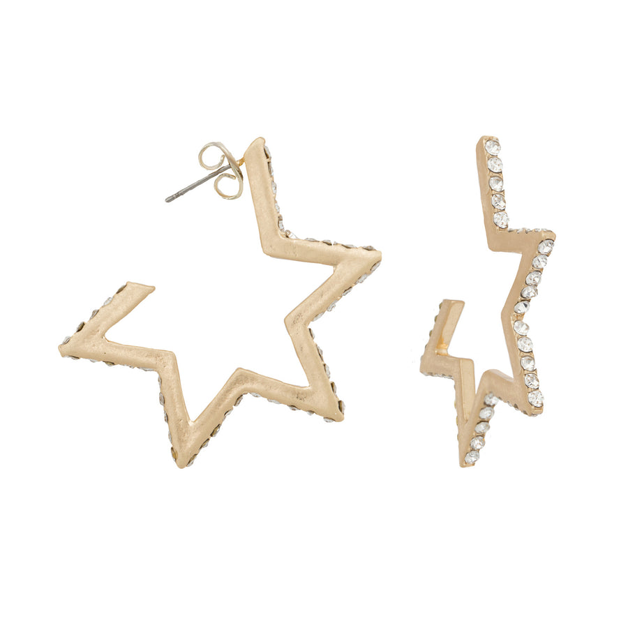 Kate Thornton 'Boldness' Crystal Gold Star Hoop Earrings