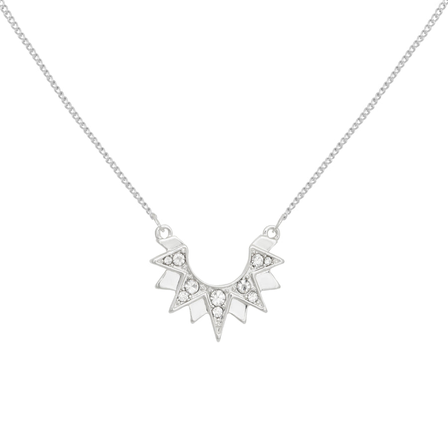 Kate Thornton Silver Art Deco Sunburst Necklace
