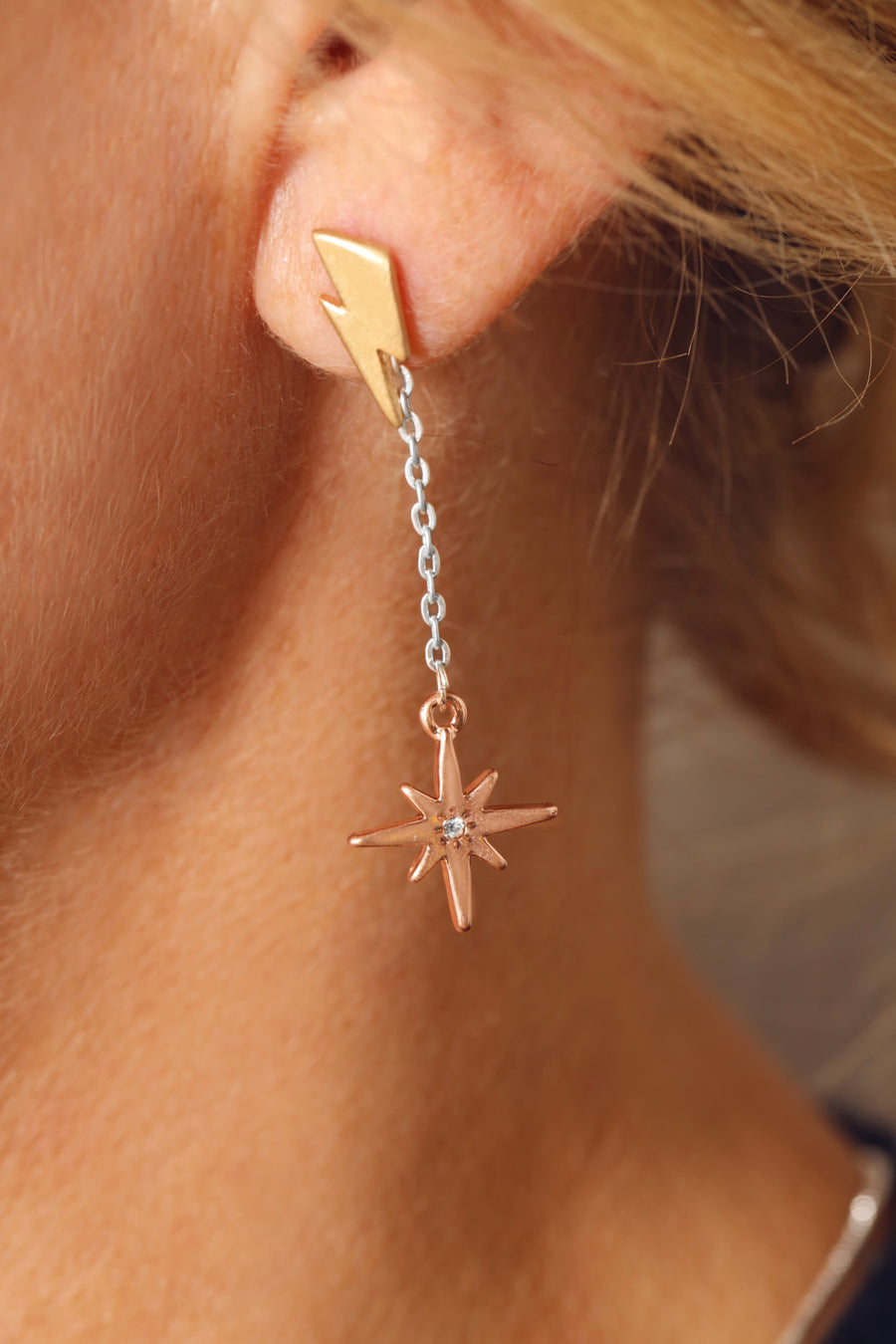 KTxBibi Trust Lightening Bolt Studs with Removable Crystal Star Drops
