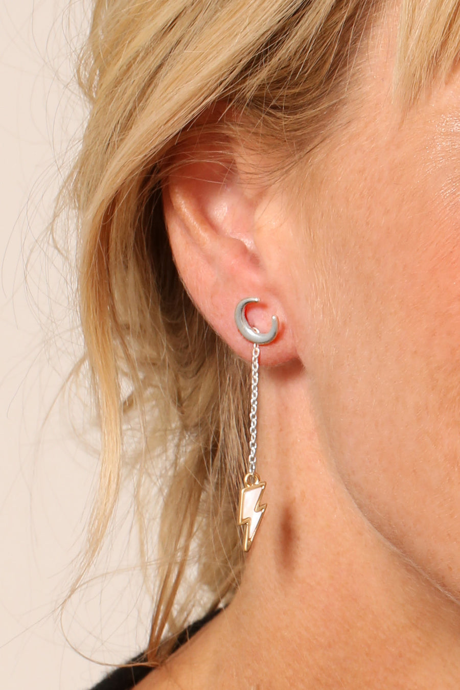 KTxBibi Wish Crescent Moon Studs with Removable Crystal Lightening Bolt Drops