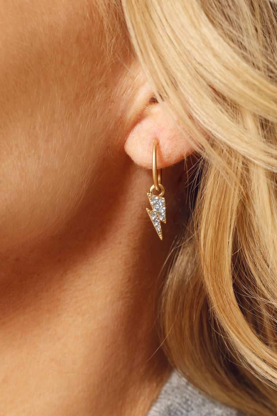 Kate Thornton 'Power' Gold Hoops with Detachable Lightning Bolt Charms