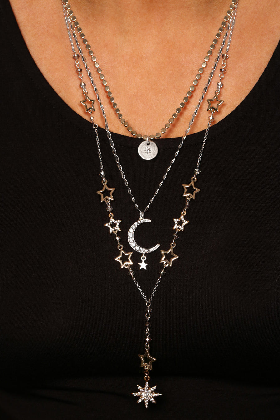 Kate Thornton Silver/Gold Celestial Layer Necklace Set