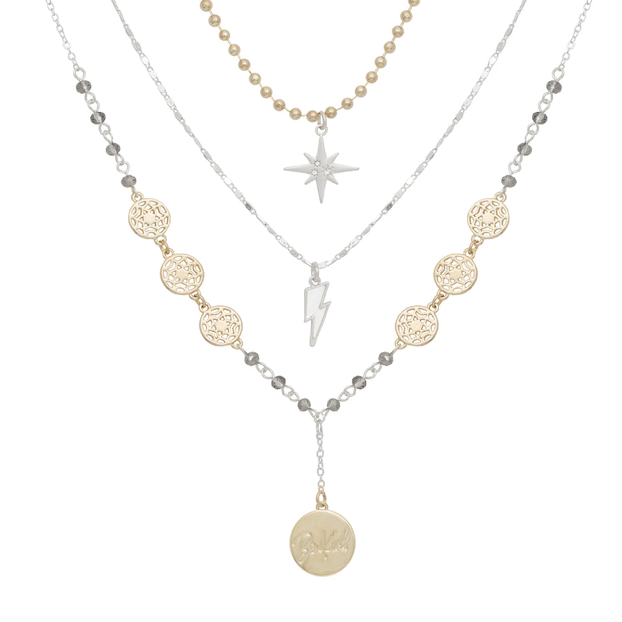 Kate Thornton 'Journey' Celestial Silver and Gold Multi-Layered Necklace