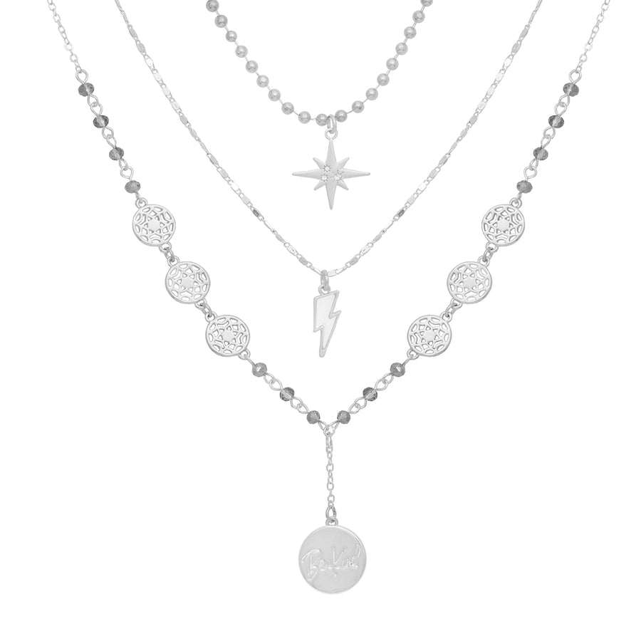 Kate Thornton 'Journey' Celestial Silver Multi-Layered Necklace