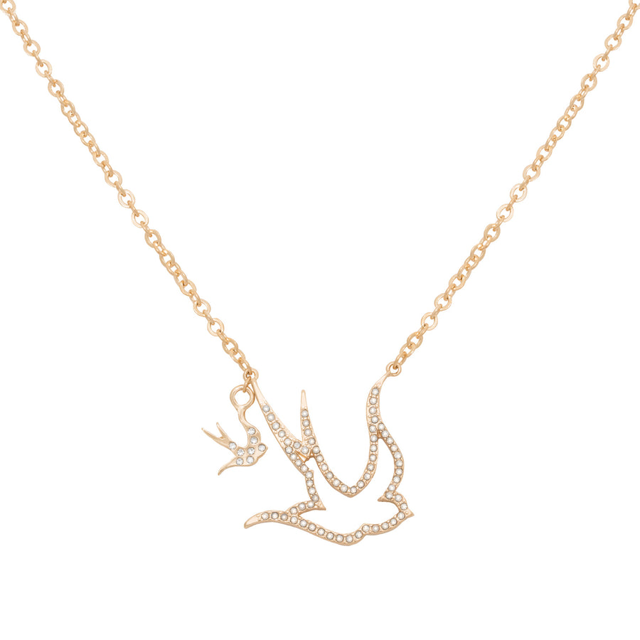 Kate Thornton Crystal Flying Swallow necklace in gold