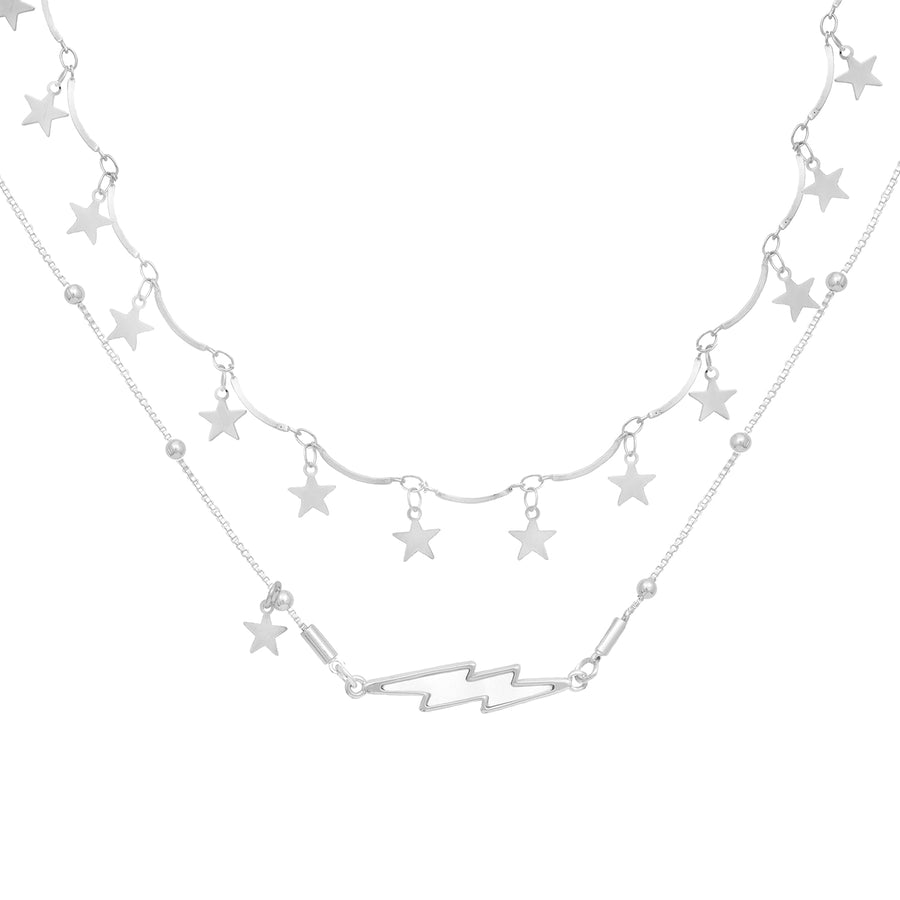 Strength Star and Lightening Bolt All Silver Necklace Set