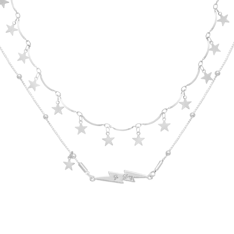 KTxBibi Strength Star and Lightening Bolt Necklace Set