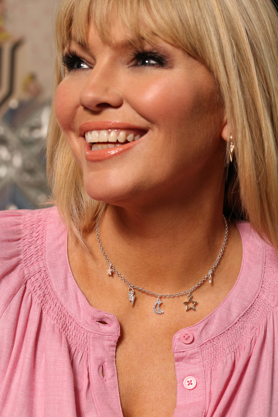 Kate Thornton 'Dreamers' Silver and Gold Crystal Charm Necklace